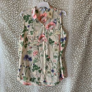 Express Floral Sleeveless City Shirt